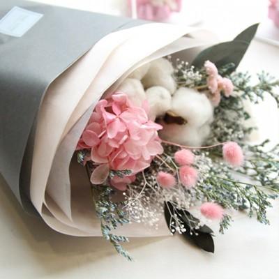 목화&핑크수국꽃다발(포장지선택)