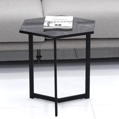 TB9786 루피노 헥사곤 마블 테이블 (블랙프레임)