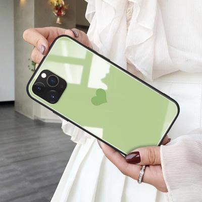 아이폰11/프로/맥스 미니하트 강화유리 핸드폰 케이스