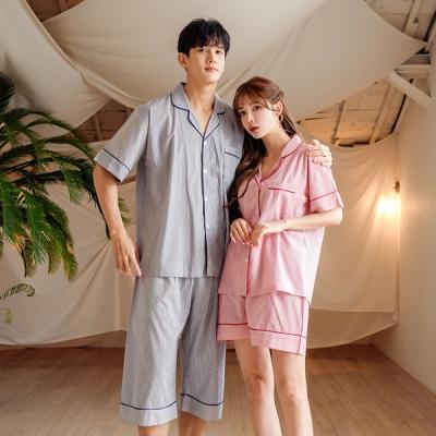 [쿠비카]잔줄 스트라이프 3부 투피스 커플잠옷 WM261