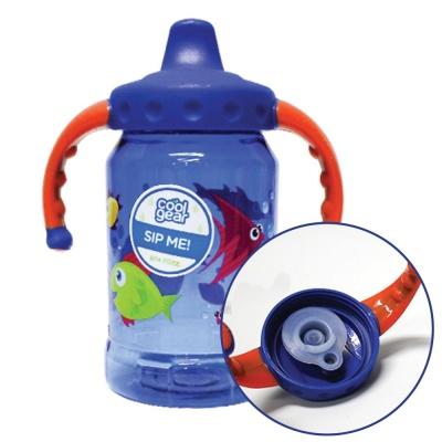 그래픽 핸들 스파우트 빨대컵 아기 물통 350ml 블루