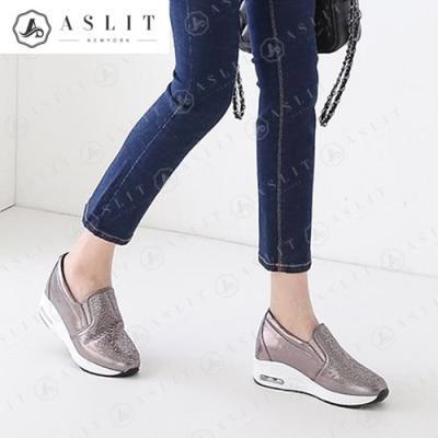 [애슬릿]발 편한 큐빅 패턴 에어 슬립온 운동화 3cm