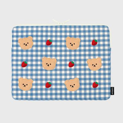 Dot strawberry check-blue-15inch notebook pouch