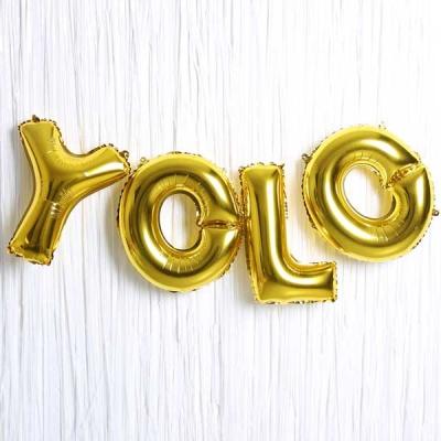 은박풍선 커튼세트 (YOLO) 골드