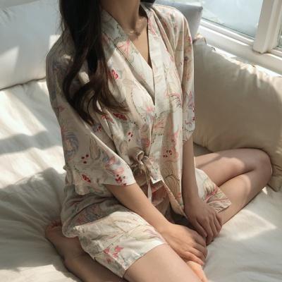 시원한 인견 잠옷 에스닉 랩 파자마