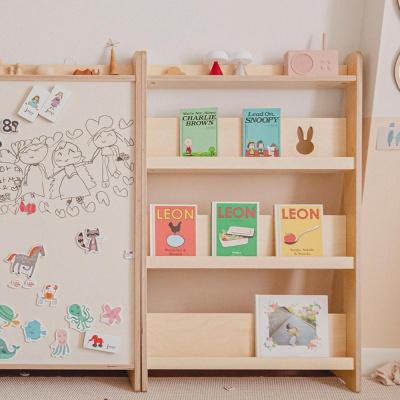 [꼬메모이]리틀라핀 슬림형 전면책장 / 자작나무