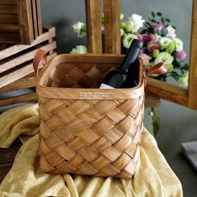 대나무 손잡이 사각 바구니 바스켓 (대형)
