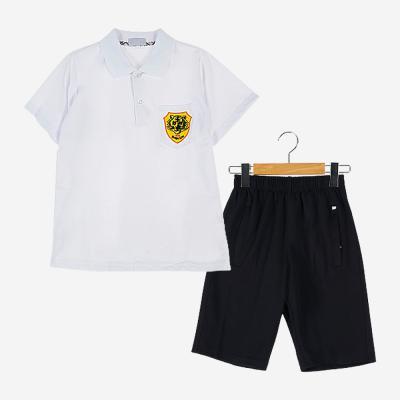 [교복아울렛] 화이트 카라 블랙 하복 체육복 (백신중)
