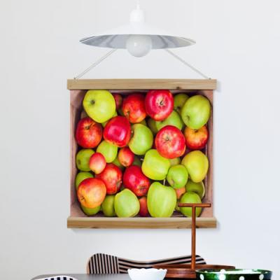 ah232-우드스크롤_60CmX60Cm-빨간사과초록사과박스