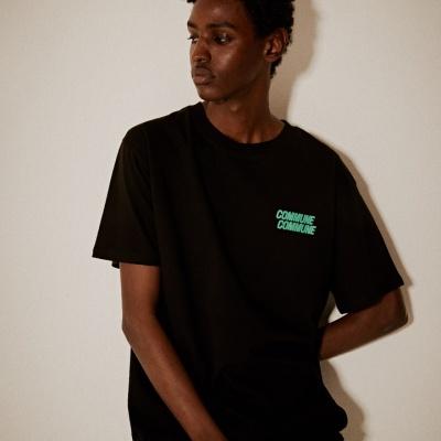 레트로 프린트 티셔츠(남여공용) 블랙