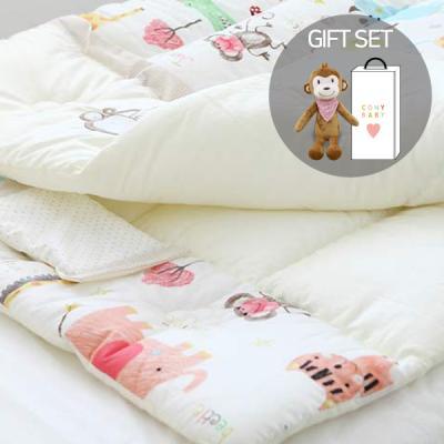 오가닉유아애착인형침구세트(동물원+아기원숭이인형)