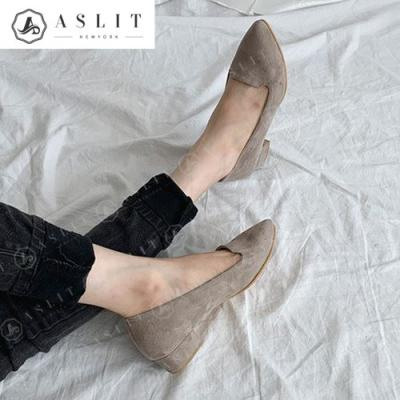 [애슬릿]여성 스웨이드 스틸레토 플랫 슈즈 3cm
