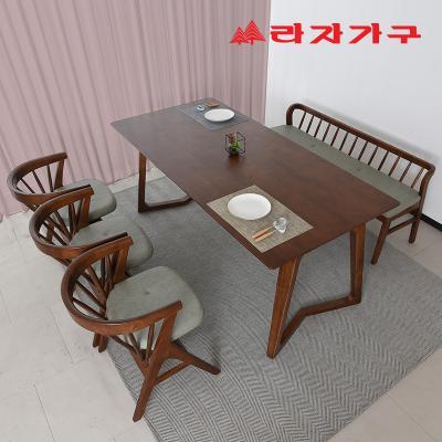 팔키 고무나무 원목 4인 식탁+벤치의자 세트