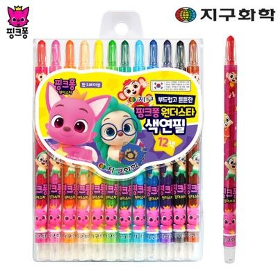 지구화학 핑크퐁 원더스타 색연필 12색 (샤프식)