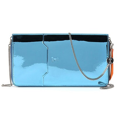 Thomas Glittery Leather Zip Organizer With Chain_Blue