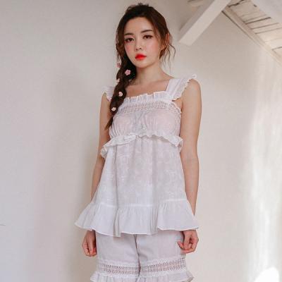 [쿠비카]자수 민소매 레이스 투피스 여성잠옷 WM152