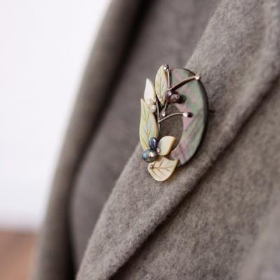 바이데이지 04Bh0137 크리스탈 나뭇잎 자개 브로치