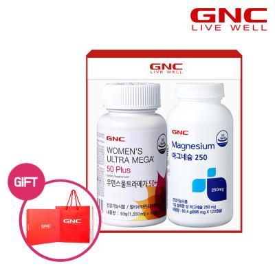 [GNC] 우먼스 멀티비타민50+마그네슘250 선물세트