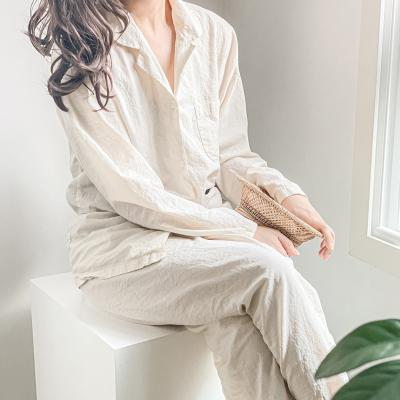 코웬 베이지 파자마 상하의 세트 잠옷
