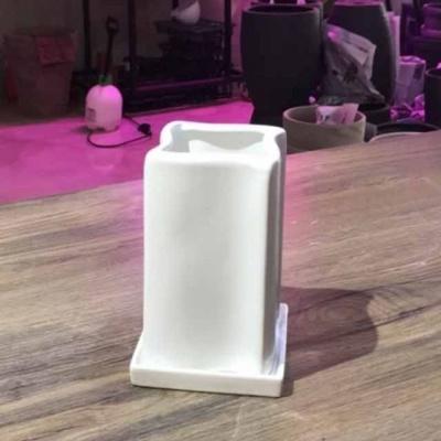 모던 도기화분 미니-유광 화이트 회오리 10x10x17cm