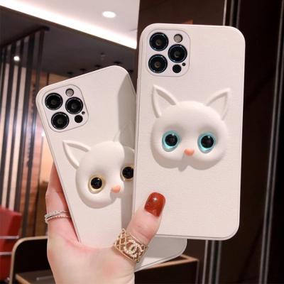 아이폰11 pro max xr xs x 화이트 고양이 입체 케이스