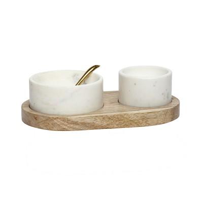 [Hubsch]Holder w/2 bowls & spoon, white/nature 519001 볼&스푼