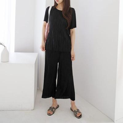 [Set] Pleats Top + Wide Pants
