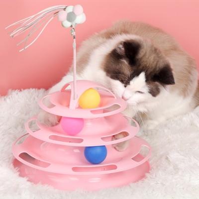 바우미우펫 고양이 UFO 장난감공 턴테이블 낚시스틱