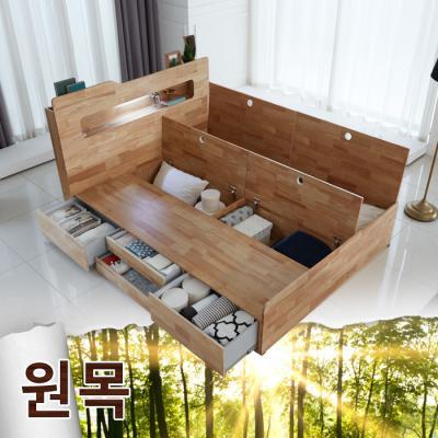 원목 LED빅수납 퀸 침대 (포켓매트) FNLS11