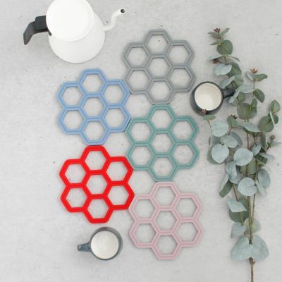 (국산) 헥사곤 실리콘 냄비받침 - 4color