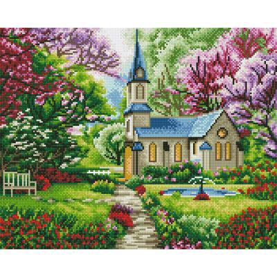 아이엠미니 DIY 보석십자수 40x50_숲속의 작은 교회