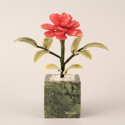 천연옥꽃 카네이션 모던 사각 레드/화이트