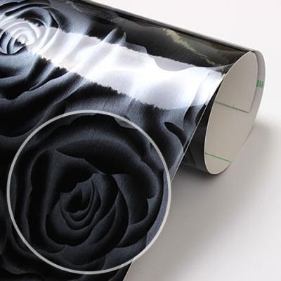 fp028-블랙펄 고광택 로즈패턴 하이그로시 _인테리어필름