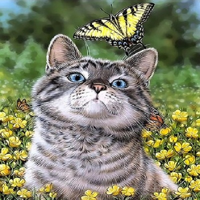 [ DIY명화 ]Q3157 나비와 함께 즐거운하루 size 40*50cm  (물감2배)