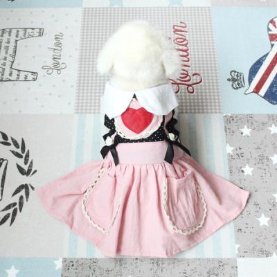 [펫딘]하트 리본 멜빵 스커트 버튼 강아지옷