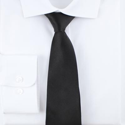 솔리드 새틴 블랙 실크 넥타이 N391