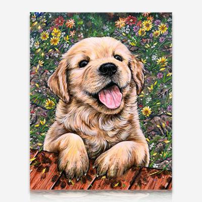 꽃밭에 강아지 DIY 보석십자수 십자수 비즈세트