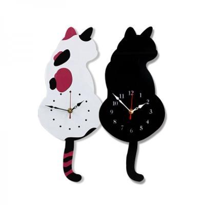 흔들흔들 고양이 저소음 벽시계 2종 시계 추카추카넷