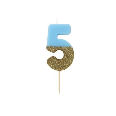 블루 글리터 숫자초 5