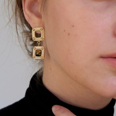 stone square earring