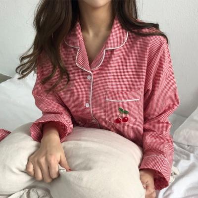 체리콕 체크 잠옷 파자마 세트