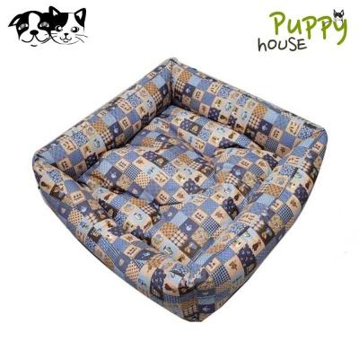 퍼피하우스 플래드 정사각 강아지 방석 (블루)