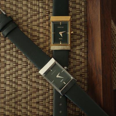 여자 시계 브랜드 여성 가죽 손목시계 그리드 그린