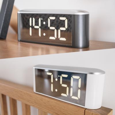 오리엔트 대형 미러 화이트LED 온도표시 탁상시계