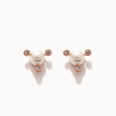 제이로렌 01M01415 트리플 큐빅 진주 로즈골드 귀걸이