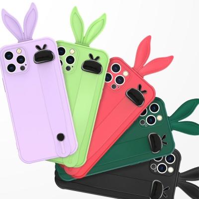 아이폰12 PROMAX MINI 컬러 토끼귀 스트랩 젤리케이스