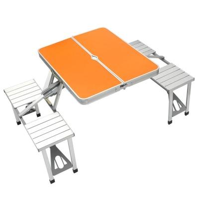 4인용 의자 일체형 접이식 캠핑테이블 오렌지