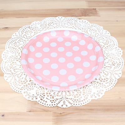 파티용 도트 접시 18cm-핑크(6개입)