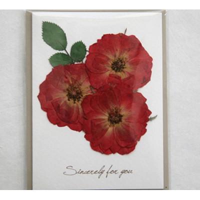 [향기카드] 압화 미니카드 - 장미다발