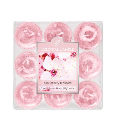 COLONIAL CANDLE 1915 티라이트 9pk 캔들 분홍 벚꽃